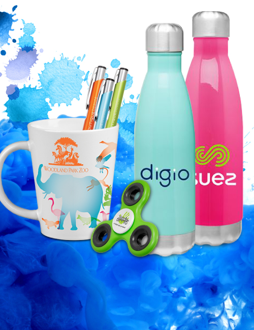 cups, pens, hand spinners and reusable water bottles