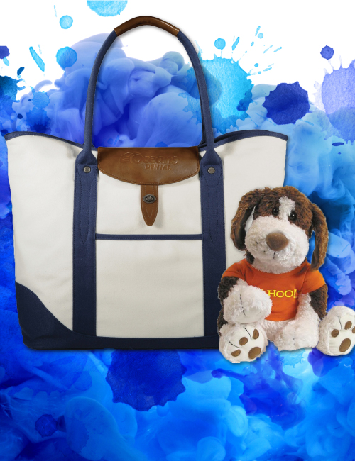 Leather imprinted tote bag with stuffed branded animal dog