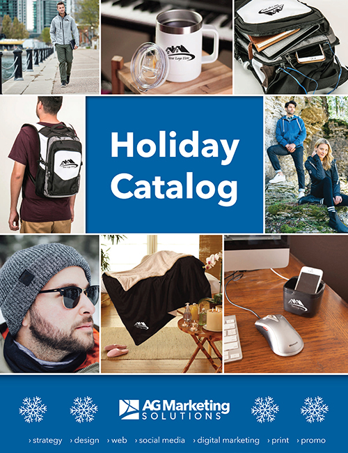 Cover page of Holiday Promotional Catalog featuring some of the products