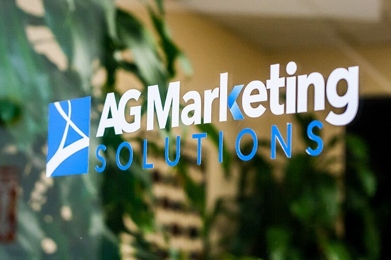 Logo of AG Marketing Solutions on Front Door of our Office that is located outside of Philadelphia, Pennsylvania