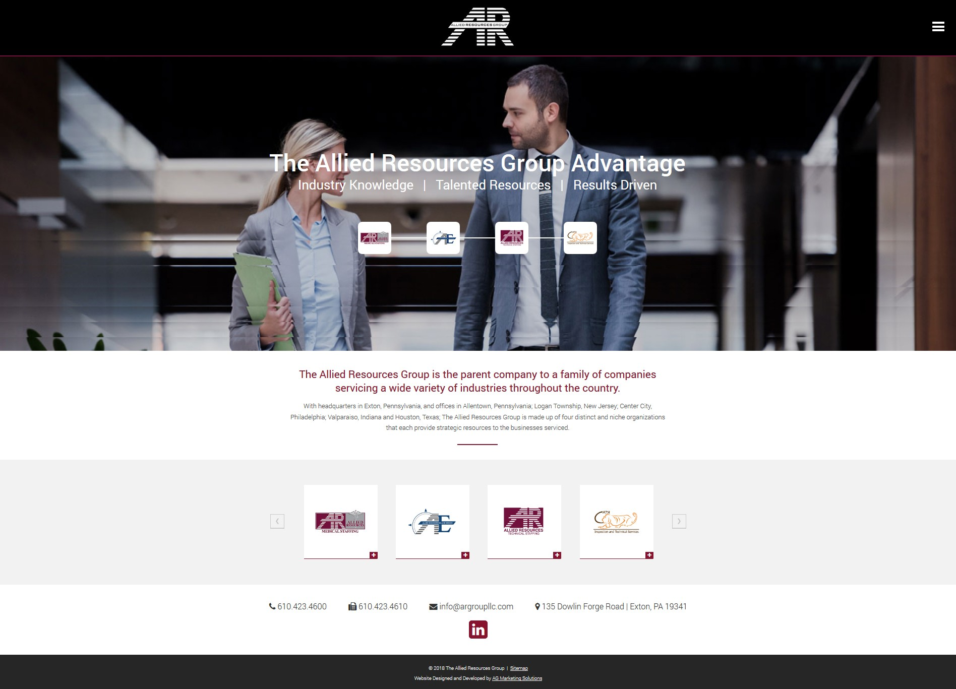 Allied Resources Group website design