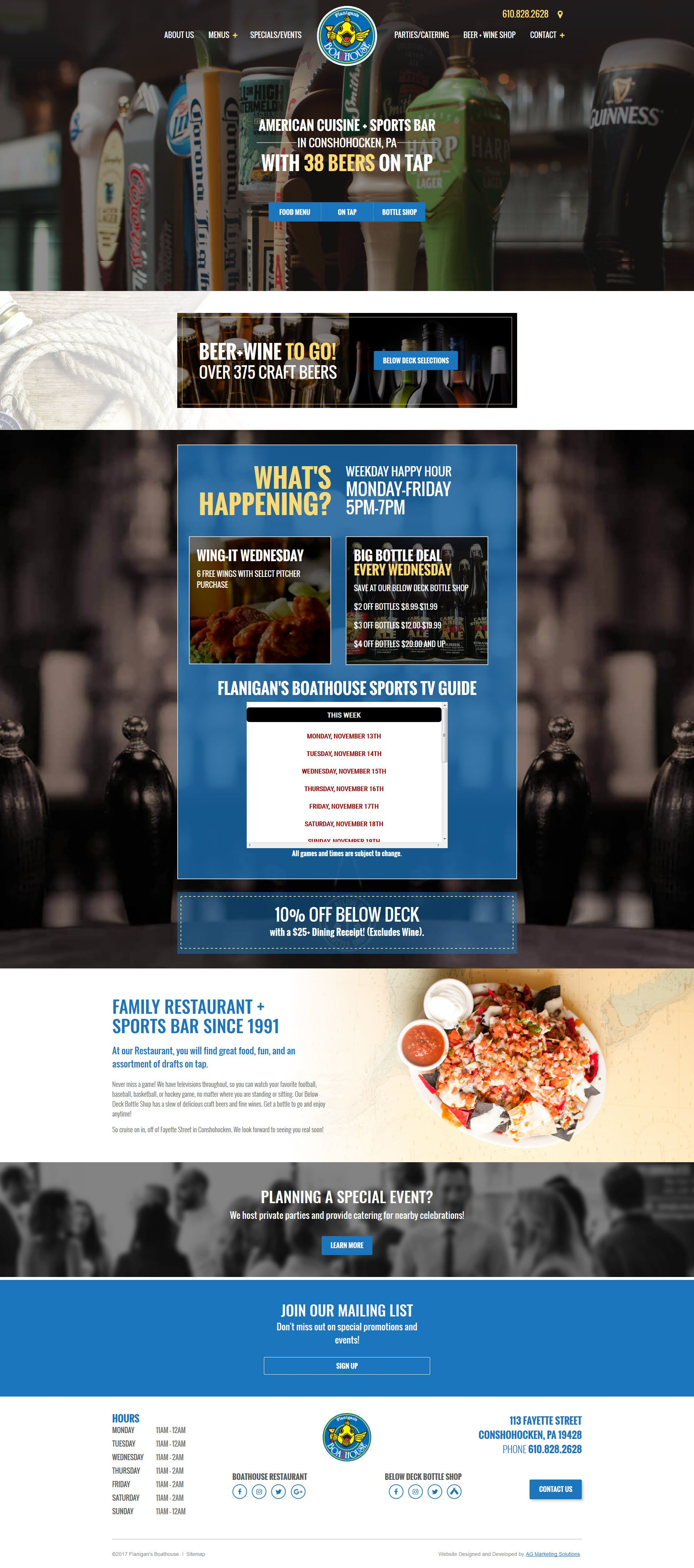 Flanigans Boathouse responsive website on a phone