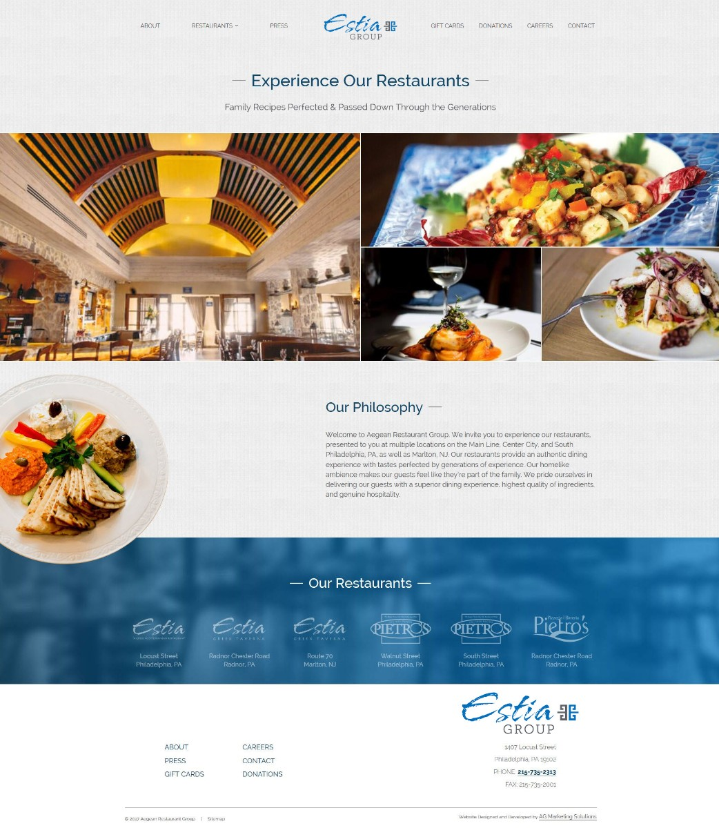 Estia Group responsive website on a phone