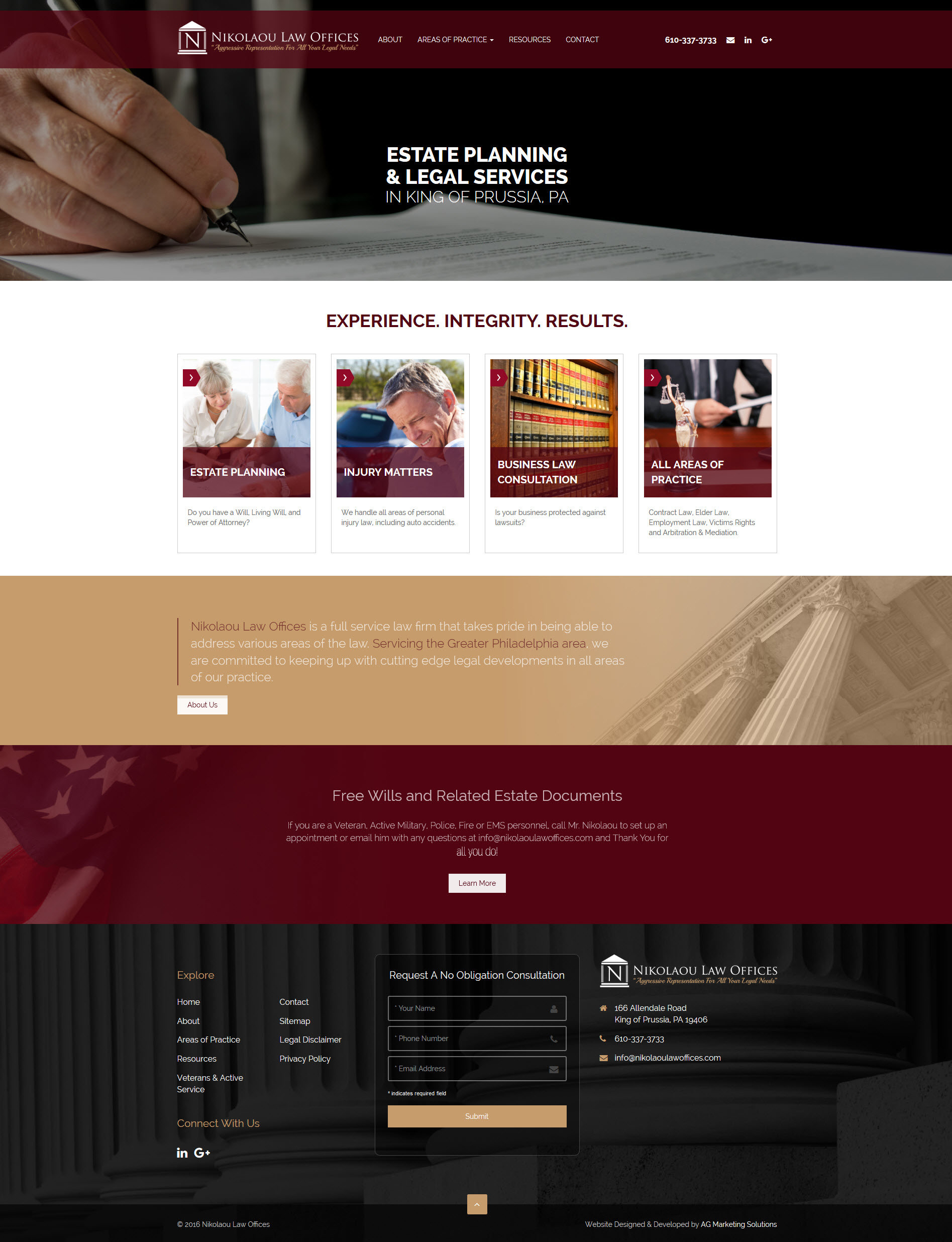 Nikolaou Law Offices responsive website at mobile resolution