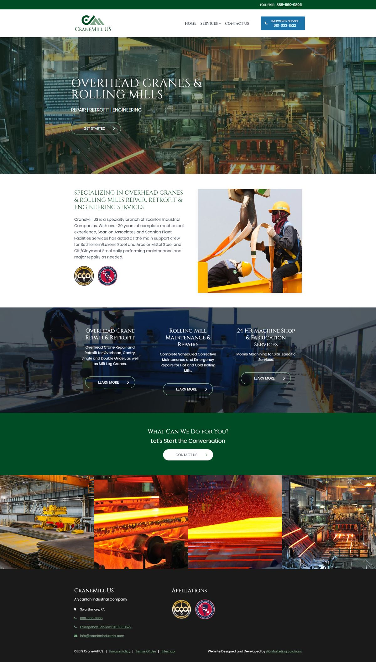 Crane Mill US responsive website on a computer screen