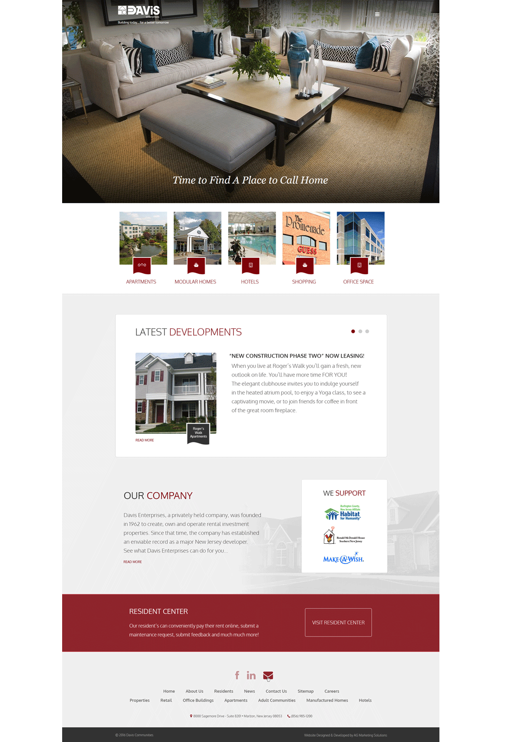 Davis Enterprises responsive website on an iMac