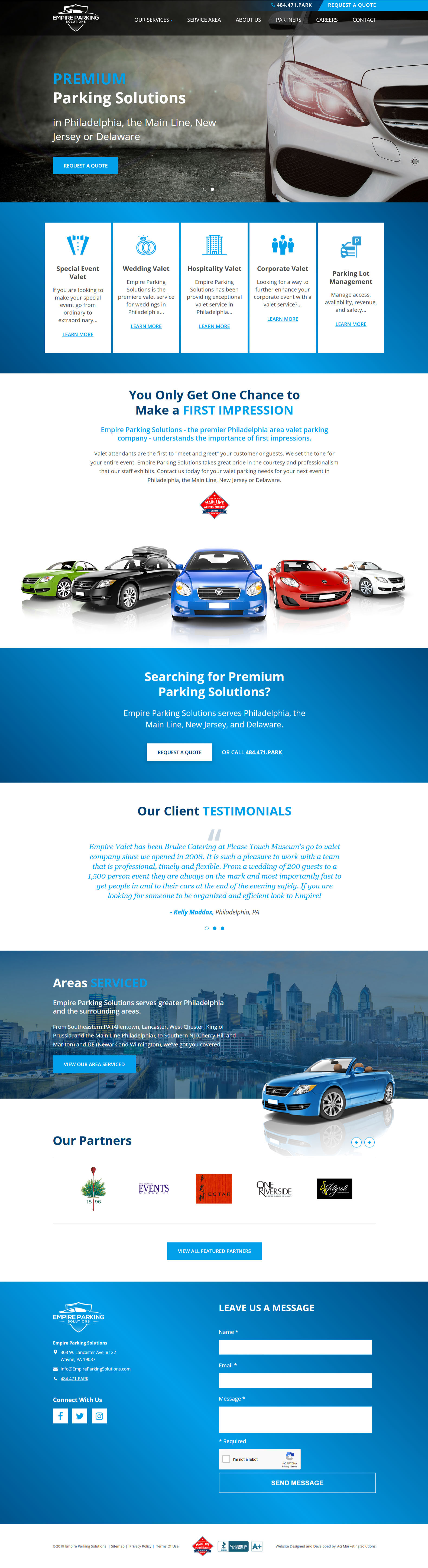 Empire Parking Solutions responsive website on a tablet