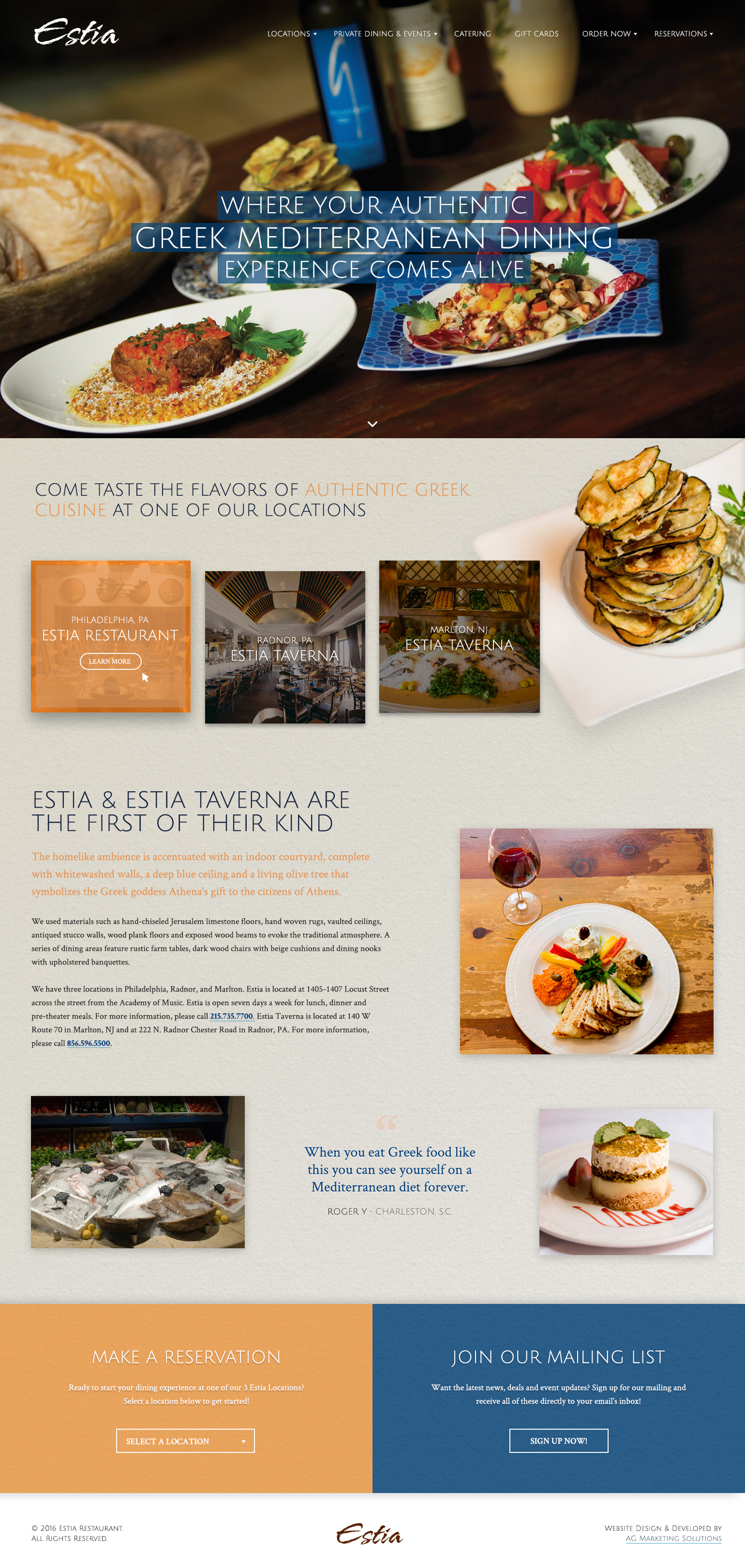 Estia Restaurant and Taverna responsive website on an iPad