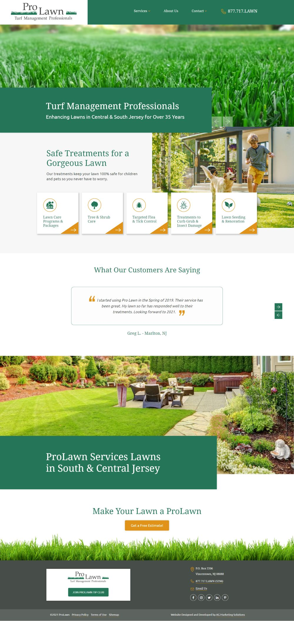 ProLawn responsive website on a desktop and mobile screen