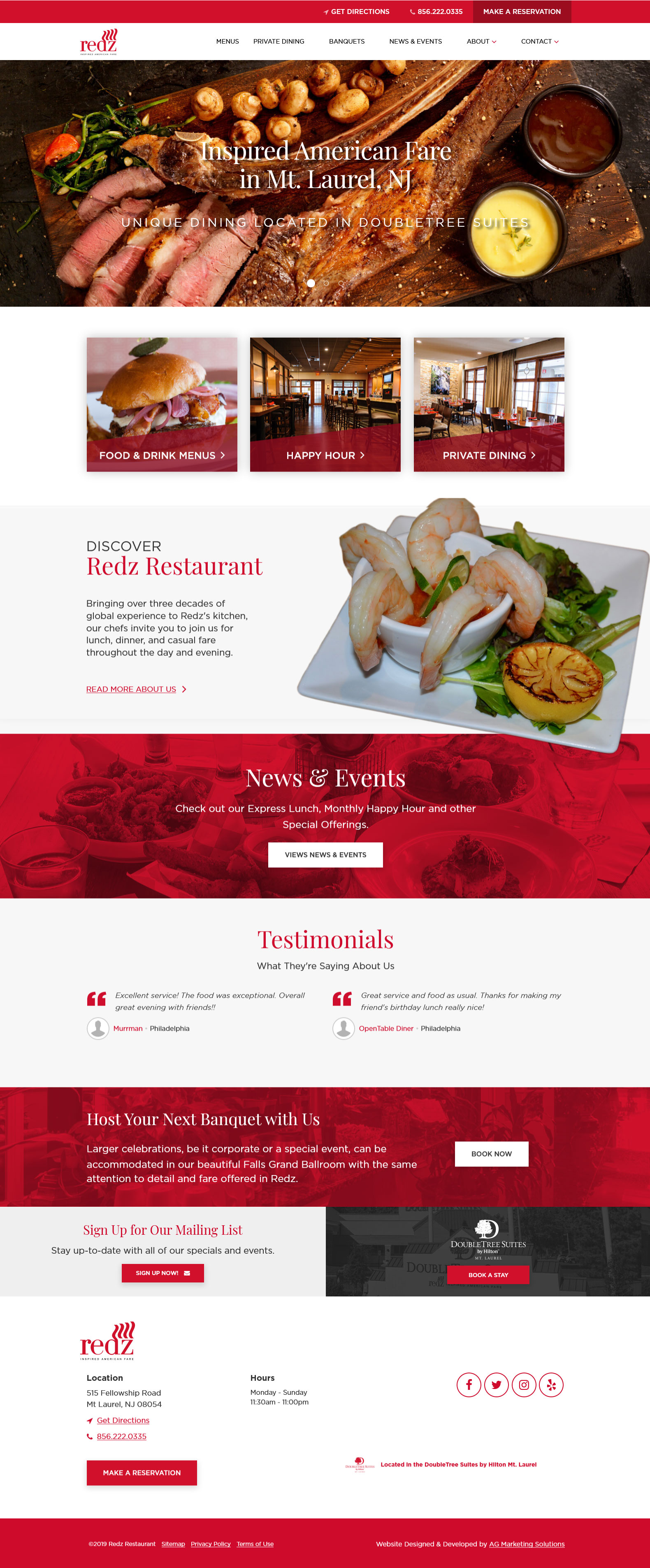 Redz Restaurant responsive website on a laptop