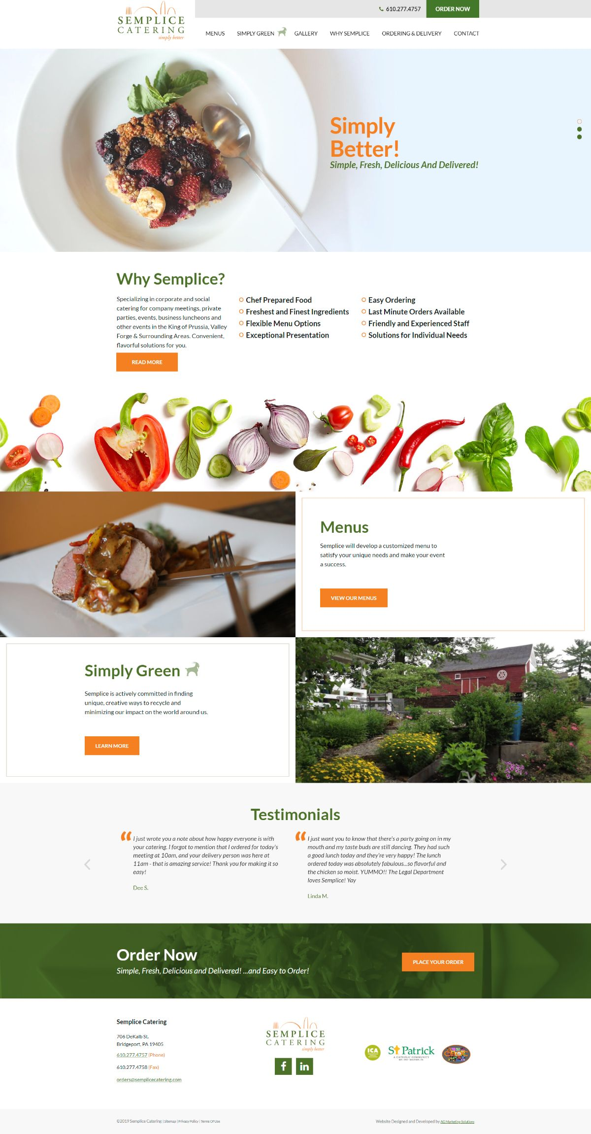 Semplice Catering responsive website on a computer screen