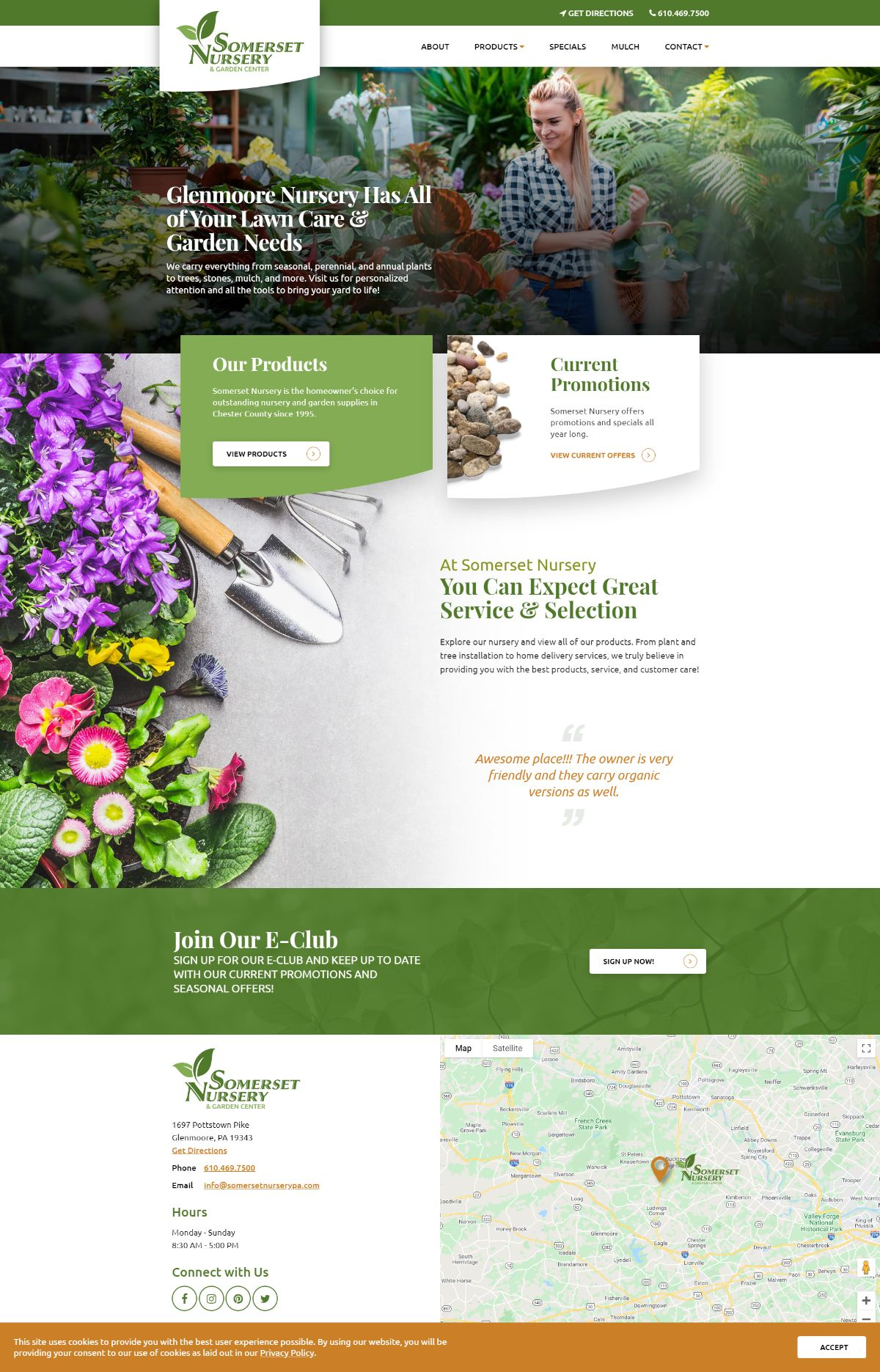 Somerset Nursery responsive website on a computer screen