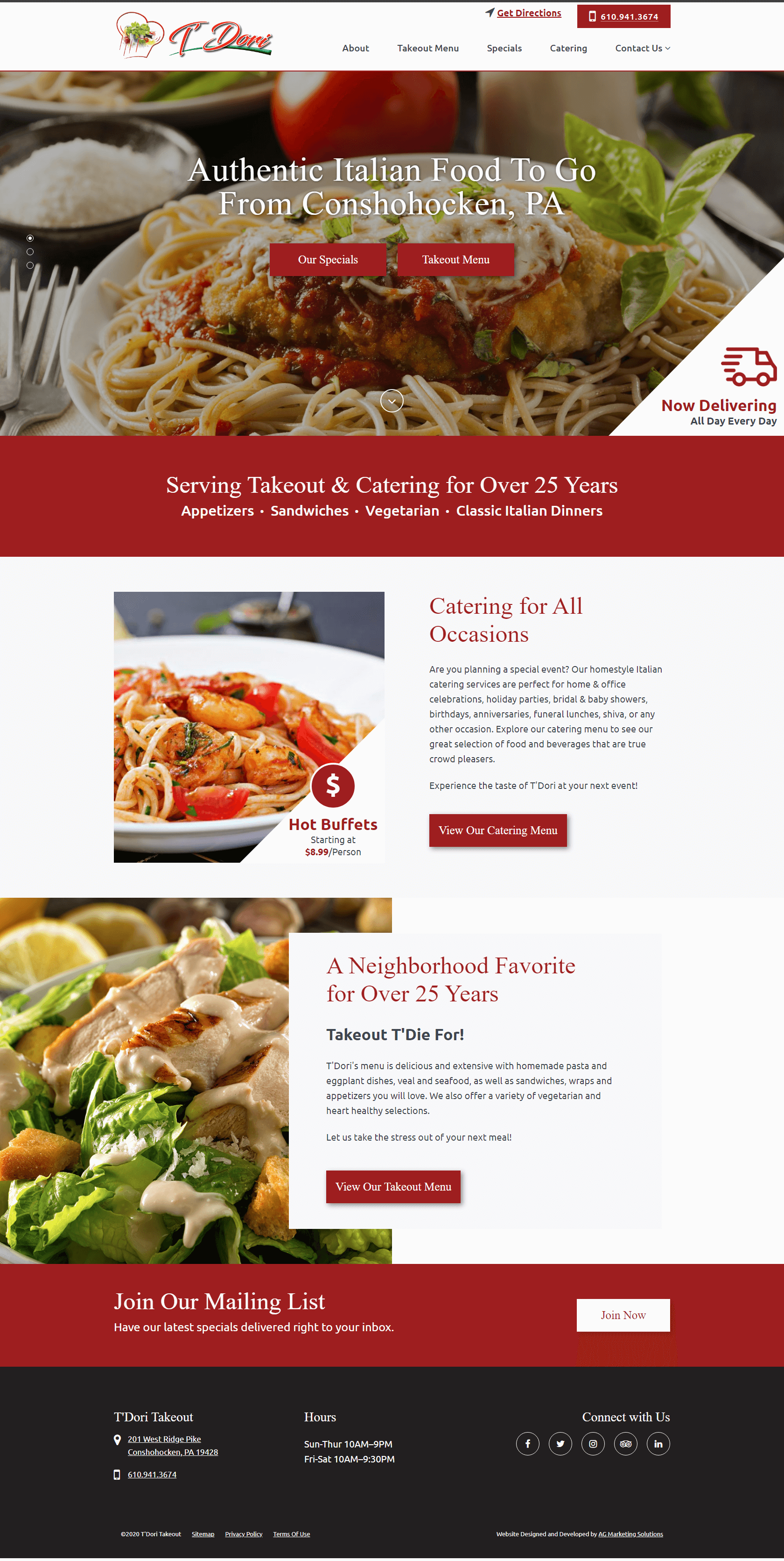 T'dori Takeout responsive website on a Windows Laptop
