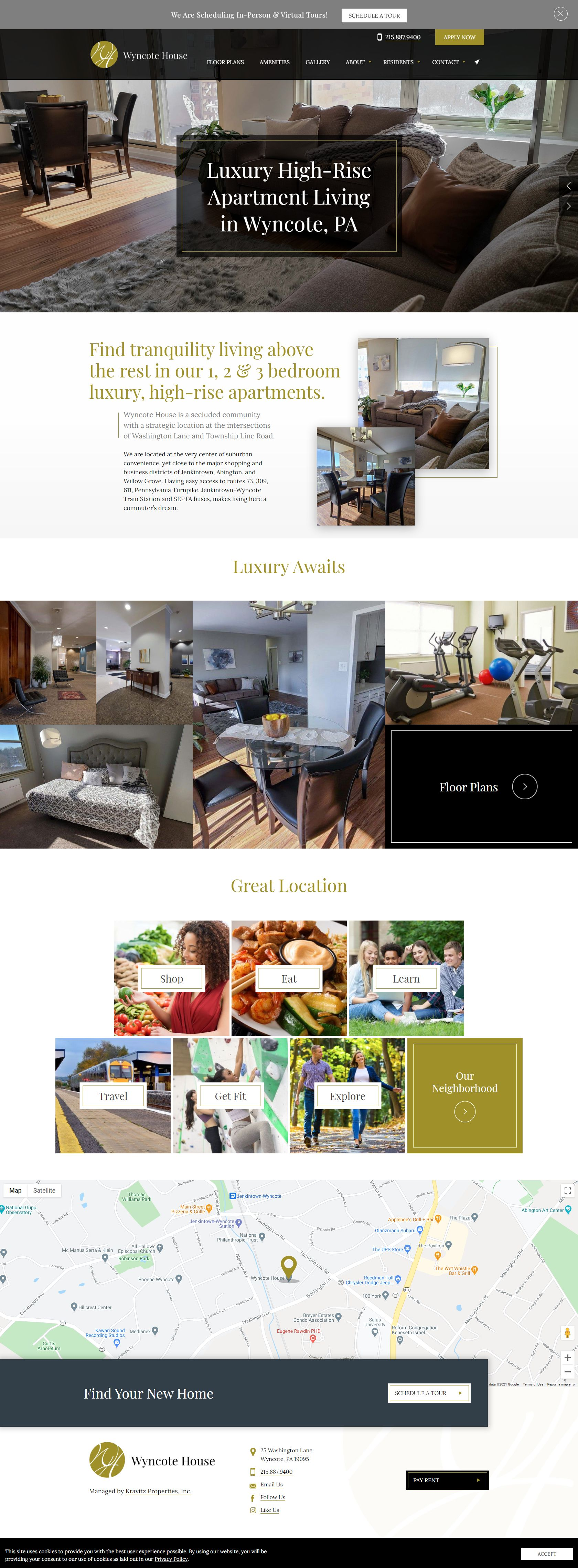 Wyncote House responsive website on an iPhone