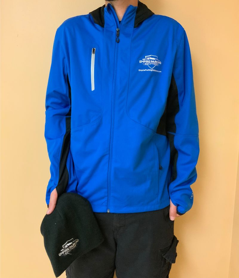 Empire Parking Solutions Jacket and Beanie Hat with embroidered logo