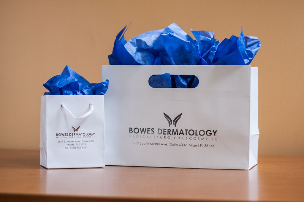 Bowes Dermatology large and small gift back set with gold foil stamp