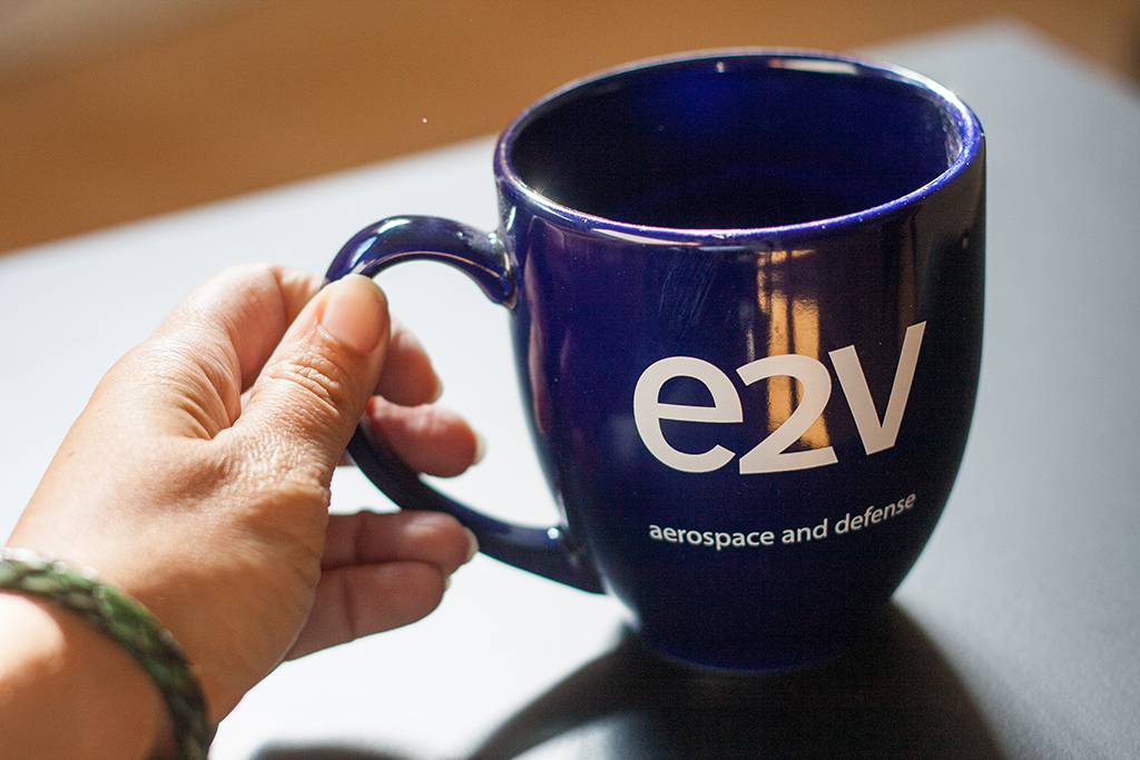e2v aerospace and defense mug