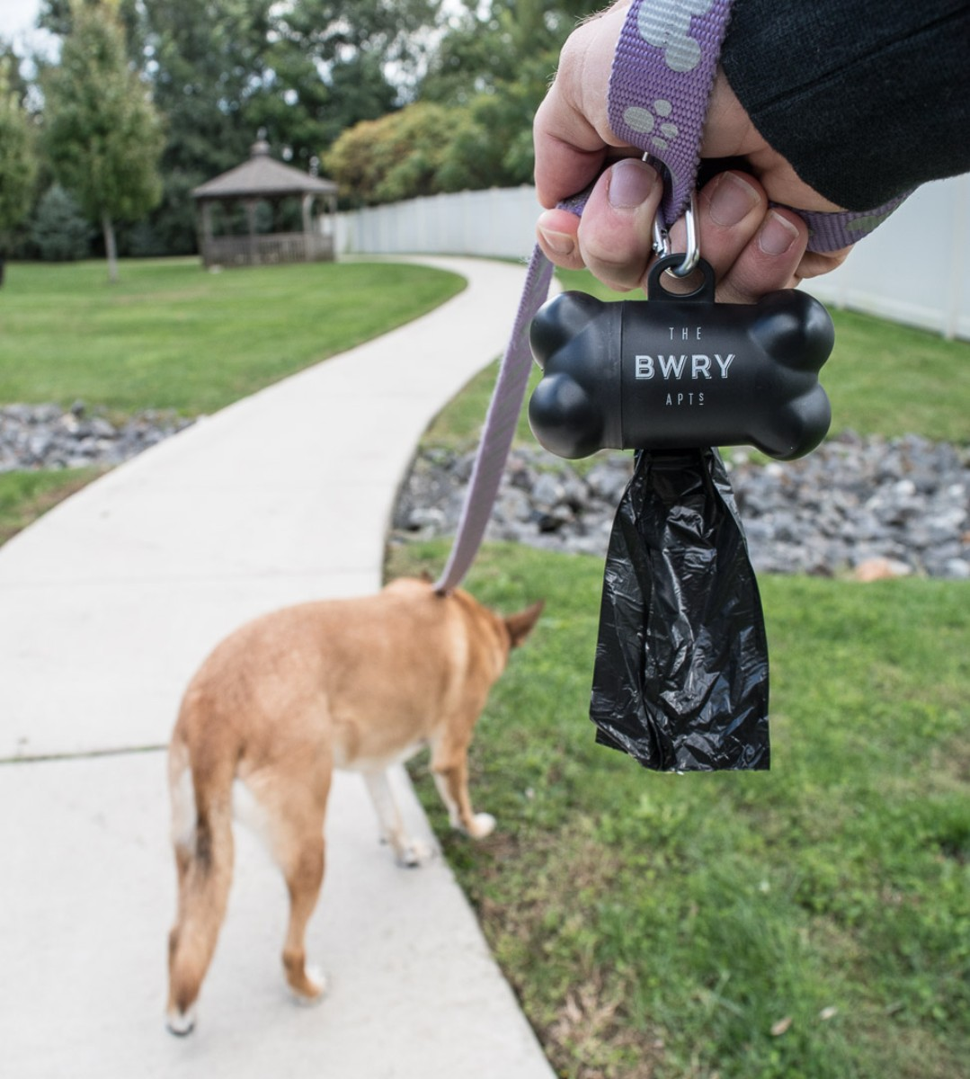 Imprinted dog waste bag holder
